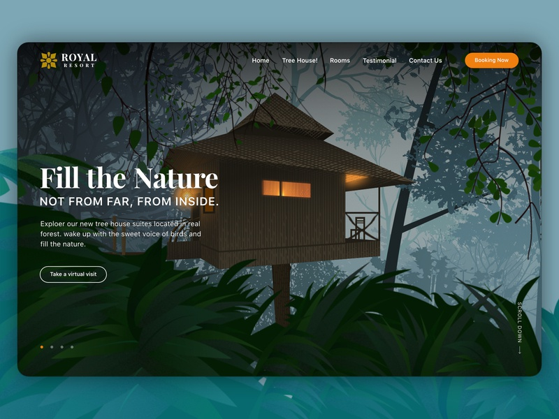 Tree House web banner and illustration travel hut forest lights web affinity designer banner website gradient ux illustration ui vector design