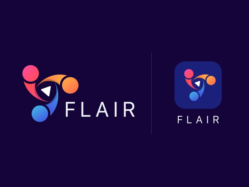 Flair Logo vector ux dark ui brand play colorful gradient logo icon yudiz talent graphics design logo design designstudio flair brand design design appicon branding logo
