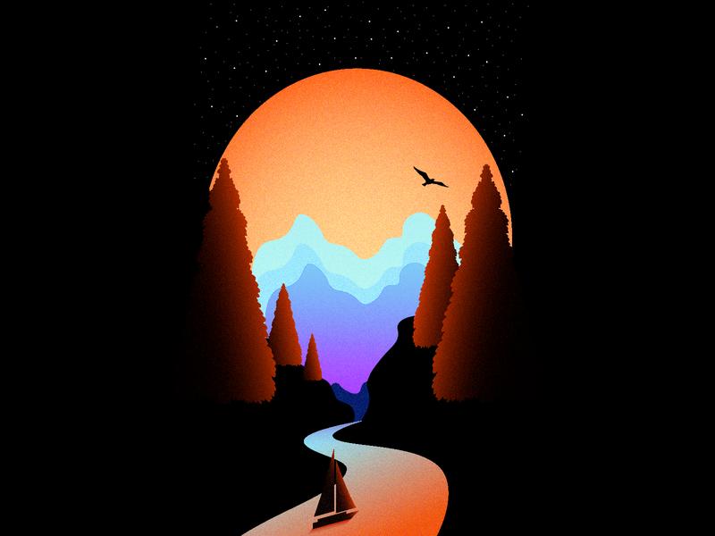 Dark forest colorful brush mobile phone artwork view forest wallpaper artistic art illustrator website minimal flat web gradient illustration vector design