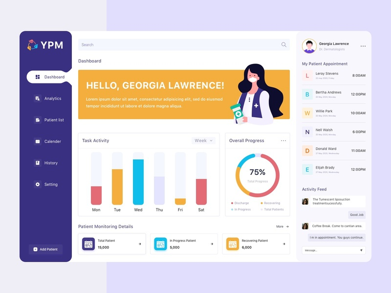 Patient Management Dashboard progress monitoring dashboard graph appointment booking chat colors patients patient app dashboard dashboard ui minimal illustrator icon flat vector typography ux ui design