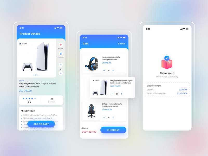 PlayStation5 - Gaming Products E-Commerce App blur game shopping app ps thankyou cart sony ecommerce app ux ui product app gaming app playstation app design gradient minimal branding icon typography design