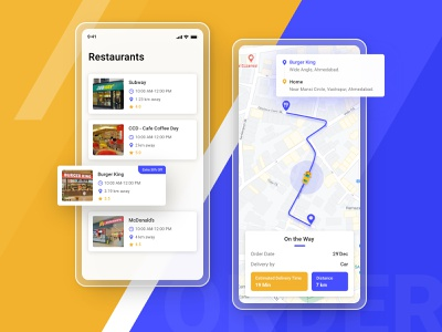 Food Delivery Service - Mobile App card offer map design app order courier cafe tracking shipping service restaurant product food order food app food delivery service delivery app delivery cuisine