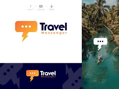 Travel Messenger Logo chating messages speed chat chatbox messenger speed chat typographic typogaphy logo mark traveling travel minimal vector branding typography gradient design logo design logo