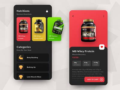 Nutritions Shop App yudiz product page dark shop gradient colors cart category fitness app gym app product health fitness gym workout card concept app ui design