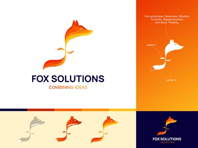 Fox Logo animal warm colors warm tones colors colorful 3d logo 3d fox illustration fox fox logo artwork minimal icon typography logo branding gradient illustration vector design