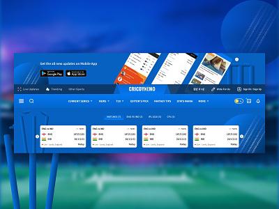 Cricket Web Header stumps ball matches sports cricket navigation menu scores header app website icon minimal illustration vector ux ui web design