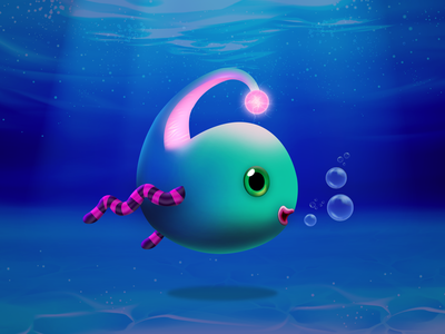 Thunder floating fish illustration icon sea life swimming lights beautiful underwater drawing bubbles fishy water fishing photoshop ocean sea thunder aquarium design game art fish