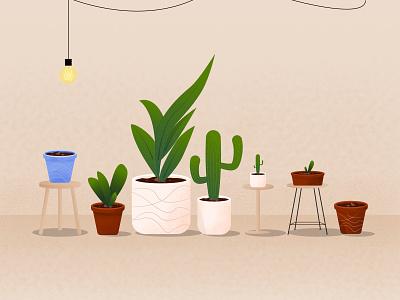 Plants & Pots stand plants table light lamps pots leaf flat minimal gradient illustration vector design