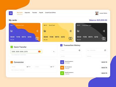 Online Banking Dashboard transaction history creditcard card design uxdesign banking dashboard banking dashboard design dashboard app dashboard ui dashboad web minimal app icon typography design uxresearch ui design ux ui