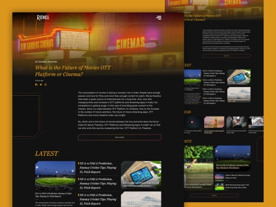Web Articles Concept videos news articles thumbnails theme dark yellow trending button website flat typography logo web gradient ux vector ui design
