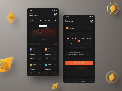 Crypto Wallet & Exchange orange cryptocurrency bitcoin exchange bitcoin etherium graphic tabbar dashboard dark exchange wallet crypto minimal icon typography gradient ux vector ui design