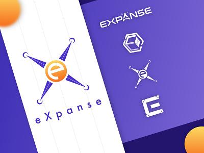 Expanse Logo gradient icon gradient design gradient expanse drone logo drone flat branding logo logo design