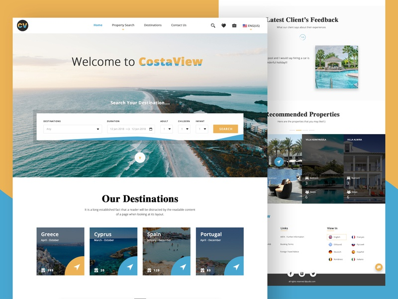 Costa View travel places image hover properties home page vacation hotel booking booking filter search bar map calander we web ui desgin costa ux web  design