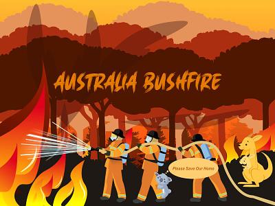 Australia Bushfire weather yudiz infography kangaroo koala animal jungle forest firefighters save earth bushfire australia wildfire wildlife fire typography illustration design vector
