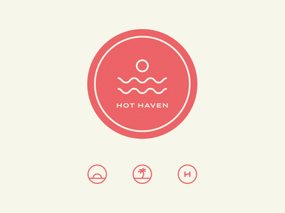 Hot Haven Exploration studio sauna mark palm tree tropical surf sun logo brand