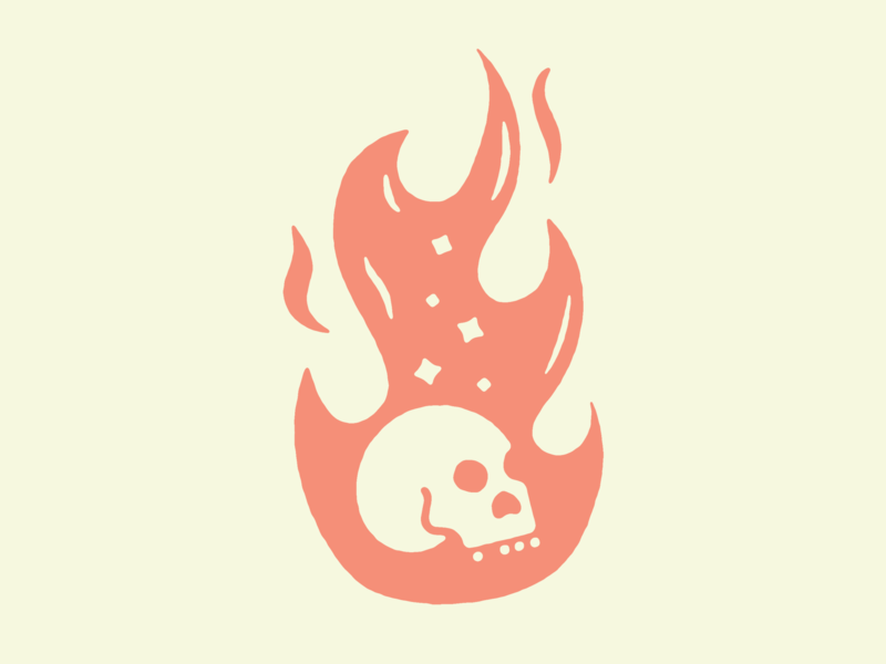 Hot head... handmade heat hot branding brand fire flame texture skull logo skulls illustrator skull art illustration