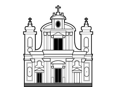 Girolamini italy napoli naples illustration black and white vector