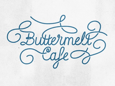 Swashy logo concept type lettering swash blue script curls cafe butter logo logotype