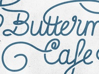 Swashy logo concept (closer) butter cafe curls script blue swash lettering type logo logotype