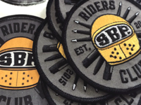 SBP Riders Club lettering visor caferacer sixblackpens helmet type pens moto patch