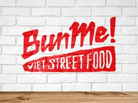 BM logo takeout qsr vietnamese banh mi viet street food street red type lettering logo