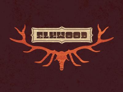Elkwood banner. banner elk stag deer horns type typeface type design font