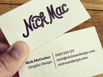 Nick Mac Letter-Pressed Card letterpress letter-press business card script logo logotype nick mac lettering