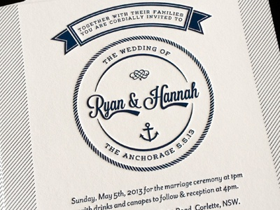 R & H Wedding Invitation letter-press letter press wedding invitation