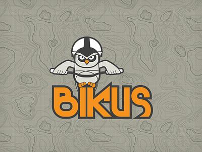 Bikus Logo logo mtb owl map mountain bike bicycle character