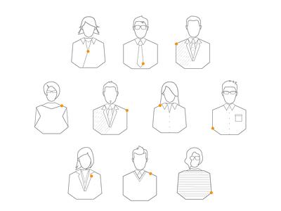 Team members avatars team avatar icon website professionals outlines