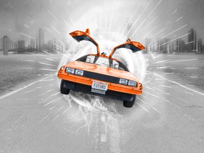 Back to the Future visual delorean promotional image adv