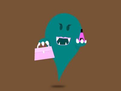 Happy She Monster monster vector teal pink character