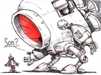 Day 20 of the Inktober Challenge inktober robots drawing pen  ink sketch study humor
