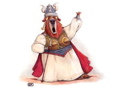 Opera Bear bear opera traditional painting watercolor gouache pencil animal humorous music viking