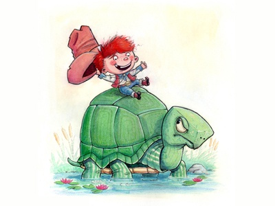 Buck Ryder cowboy turtle animals traditional gouache pen  ink pencil watercolor illustration cartoon character childrens books