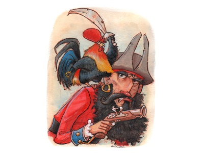 Pirate Rooster pen and ink colored pencil gouache watercolor humorous adventure childrens books character design rooster pirate