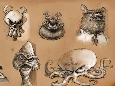 Halloween doodles with tone