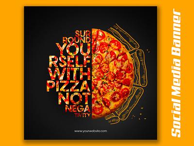 FOOD Social Media Banner pizza design product banner graphic design branding banner design food banner