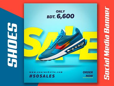 Shoes Instagram Web Banner or Social Media Banner sneakers footware flyer banner ad shoe nike graphic design banner design product banner