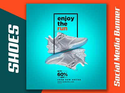 Shoes Instagram Web Banner or Social Media Banner ad sneakers illustration banner ad nike design branding product banner graphic design banner design