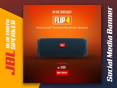 JBL Bluetooth Speaker Social Media Banner illustration banner ad design branding product banner graphic design banner design