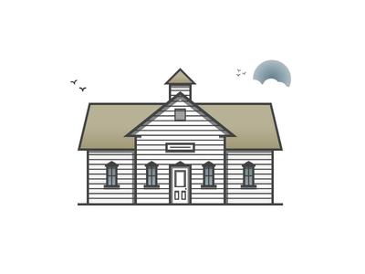 School Is Cool illustration icon house school