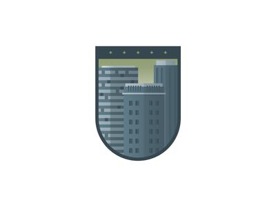 Building Badge illustration icon badge city building