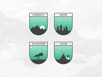 Badge Set team discover grow connect explore badge illustration icon