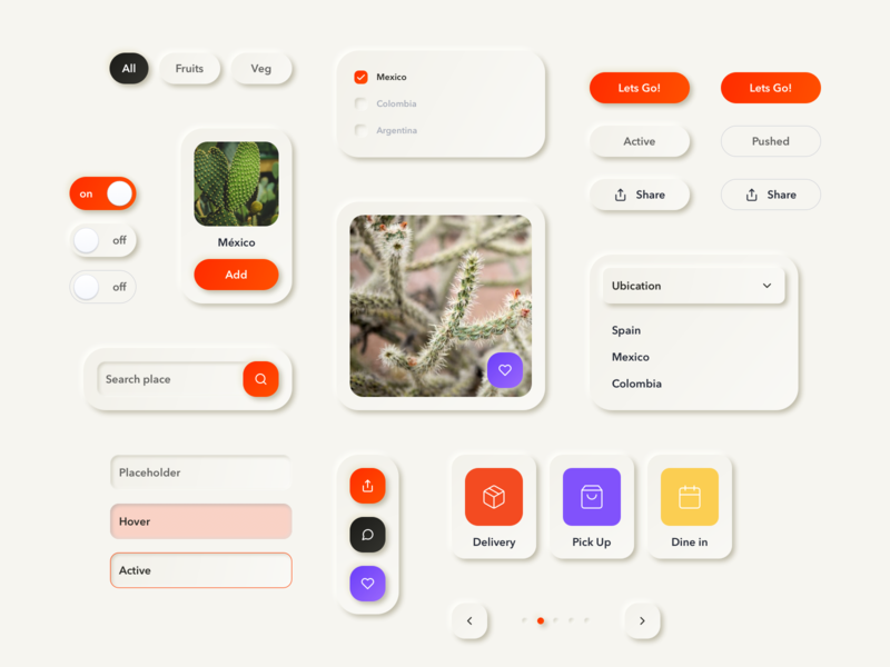 Neeeu components library search orange ecommerce navigation cards delivery app concept sketch atomic product design design system ios uikit ui components neumorphic
