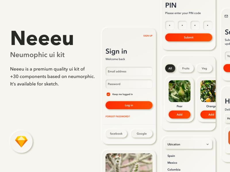 Neeeu  Concept UI Kit prototype protopie themes app sketch design web ui concept neumorphic neumorphism