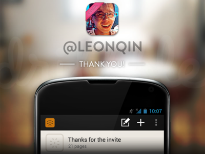 Thank you @leonqin ! invite thanks thank you pop android coming