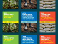 Rainforest Alliance 2019 Annual Report sacks boots forest typography layout annual report