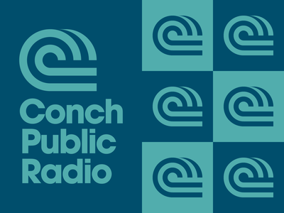 Conch Public Radio podcast typography wave logo