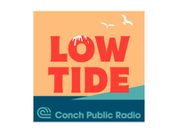 Low Tide coast seagull typography logo illustration podcast